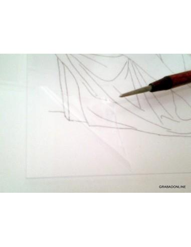 PVC Transparente 1 mm. (protegido con film) de Grabado 70 X 50 c